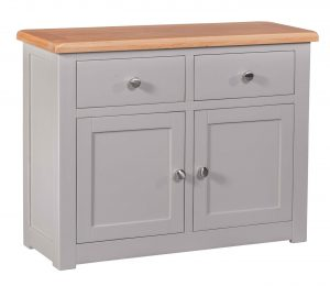 Homestyle Diamond Painted Grey 2 Door, 2 Drawer Small Sideboard | Fully Assembled