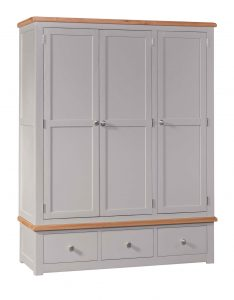 Homestyle Diamond Painted Grey Triple Wardrobe With Drawers