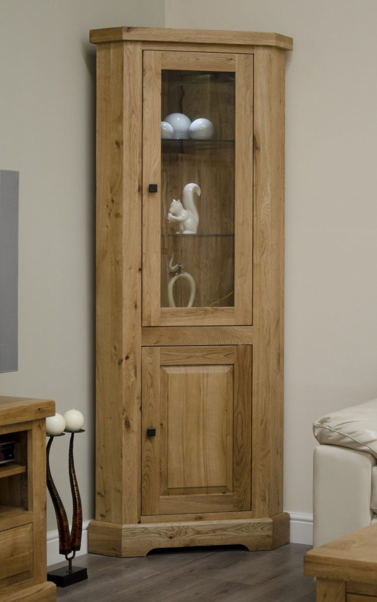 Homestyle Deluxe Solid Oak Corner Display Unit With Light | Fully Assembled