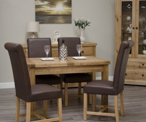 Homestyle Deluxe Solid Oak Small Butterfly Extending Table