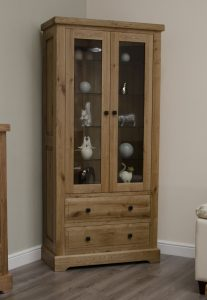 Homestyle Deluxe Solid Oak 2 Door & 2 Drawer Glass Display Cabinet With Light | Fully Assembled