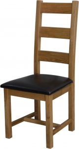 Homestyle Deluxe Solid Oak Ladder Back Chair (Pair) | Fully Assembled