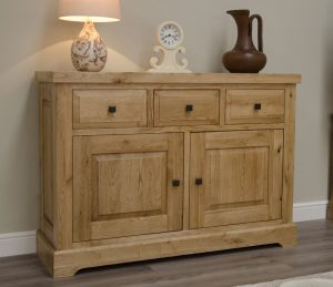 Homestyle Deluxe Solid Oak 3 Drawer & 2 Door Medium Sideboard | Fully Assembled