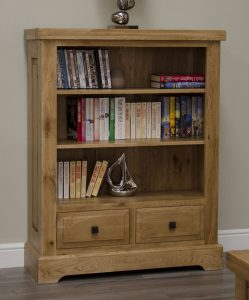 Homestyle Deluxe Solid Oak 2 rawer Small Bookcase | Fully Assembled