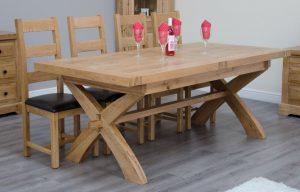 Homestyle Deluxe Solid Oak 2m Cross Leg Extending DiningTable