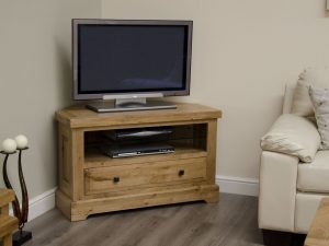 Homestyle Deluxe Solid Oak 1 Drawer Corner TV Unit | Fully Assembled
