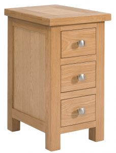 Devonshire Dorset Oak Narrow 3 Drawer Bedside Cabinet | Fully Assembled