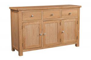 Devonshire Dorset Oak 3 Door, 3 Drawer Sideboard | Fully Assembled