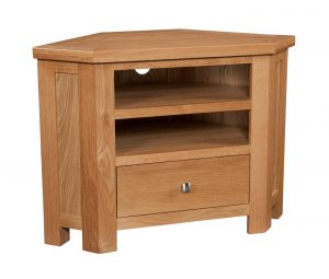 Devonshire Dorset Oak 1 Drawer Corner TV Unit | Fully Assembled