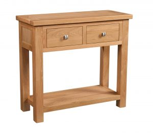 Devonshire Dorset Oak 2 Drawer Console Table With Shelf