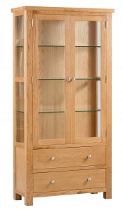 Devonshire Dorset Oak Display Cabinet with Glass Doors and Sides | Fully Assembled