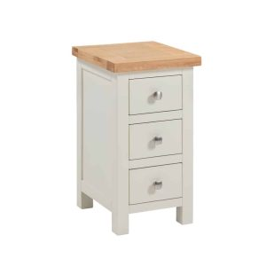 Devonshire Dorset Painted Ivory Narrow 3 Drawer Bedside Cabinet | Fully Assembled