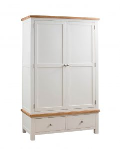 Devonshire Dorset Painted Ivory 2 Door Double Wardrobe With 2 Drawers | Fully Assembled