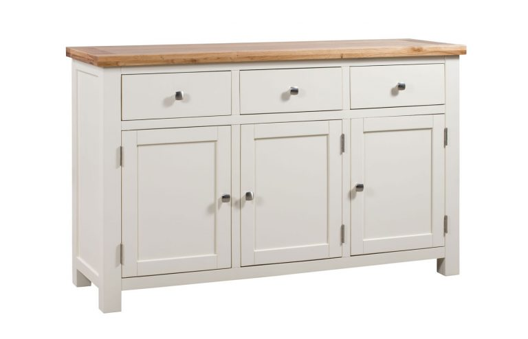 Devonshire Dorset Painted Ivory 3 Drawer 3 Door Sideboard | Fully Assembled