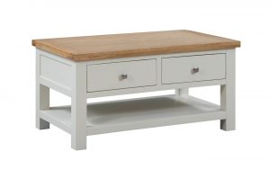 Devonshire Dorset Painted Ivory 2 Drawer Coffee Table   Fully Assembled