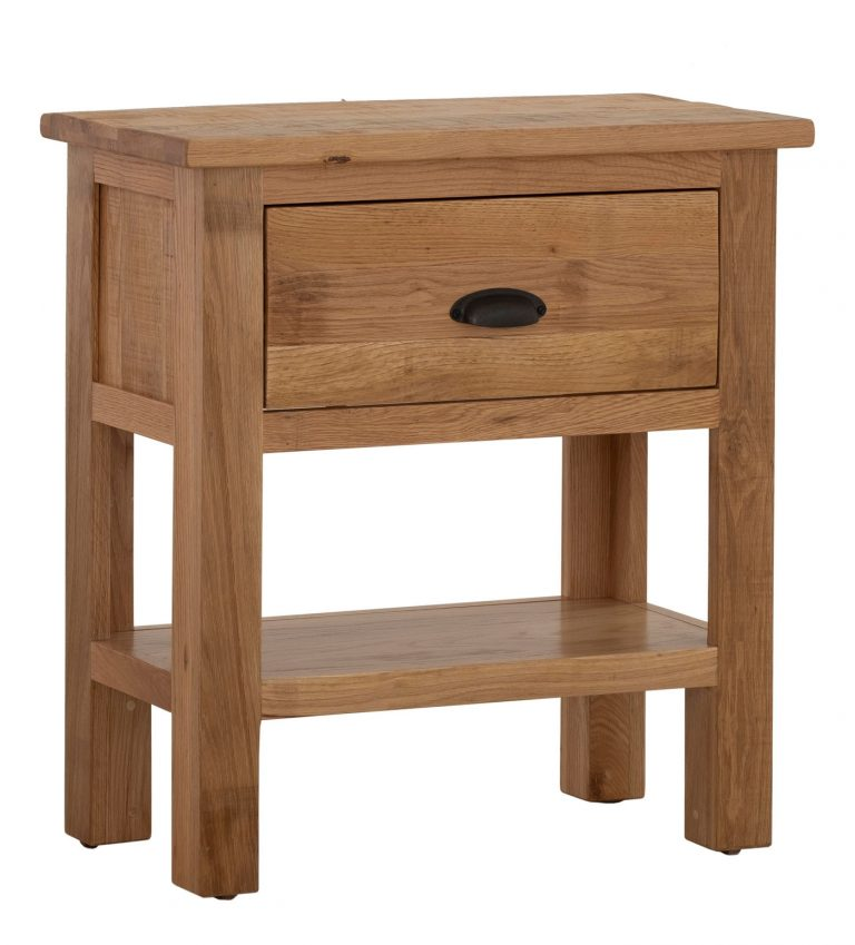 Besp-Oak Vancouver Sawn Oak 1 Drawer Console Hall Table   Fully Assembled