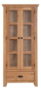 Besp-Oak Vancouver Sawn Oak 2 Door 1 Drawer Glazed Display Cabinet | Fully Assembled