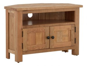 Besp-Oak Vancouver Sawn Corner TV Unit | Fully Assembled