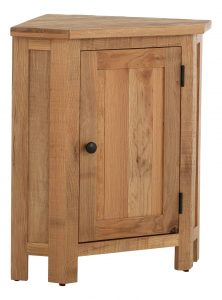 Besp-Oak Vancouver Sawn Oak Corner Lamp Table/Corner Cabinet | Fully Assembled