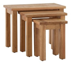 Besp-Oak Vancouver Sawn Oak Nest of 3 Tables | Fully Assembled