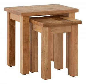 Besp-Oak Vancouver Sawn Oak Nest of 2 Tables | Fully Assembled