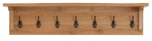 Besp-Oak Vancouver Sawn Oak Coat Rack with 7 Hooks | Fully Assembled