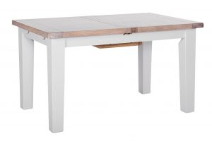 Besp-Oak Vancouver Chalked Oak & Light Grey Extension Dining Table 1.4 – 1.8