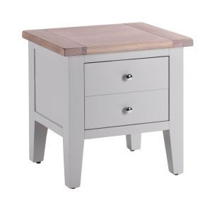 Besp-Oak Vancouver Chalked Oak & Light Grey 1 Drawer Lamp Table | Fully Assembled