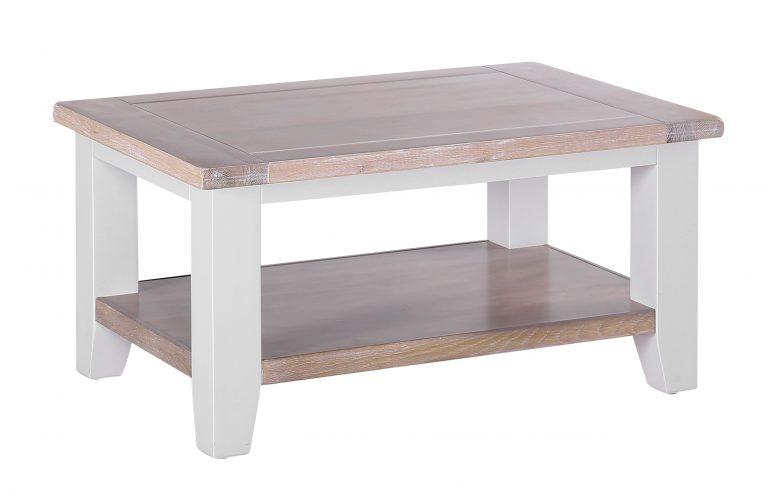Besp-Oak Vancouver Chalked Oak & Light Grey Rectangular Coffee Table with 1 Shelf | Fully Assembled