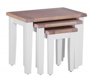 Besp-Oak Vancouver Chalked Oak & Light Grey Nest of 3 Tables | Fully Assembled