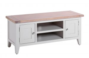 Besp-Oak Vancouver Chalked Oak & Light Grey 2 Door 1 Shelf TV Unit | Fully Assembled