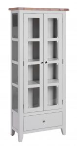 Besp-Oak Vancouver Chalked Oak & Light Grey 1 Drawer 2 Door Glazed Display Cabinet | Fully Assembled