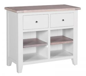 Besp-Oak Vancouver Chalked Oak & Light Grey Sideboard with 2 Drawers & 2 Shelves | Fully Assembled