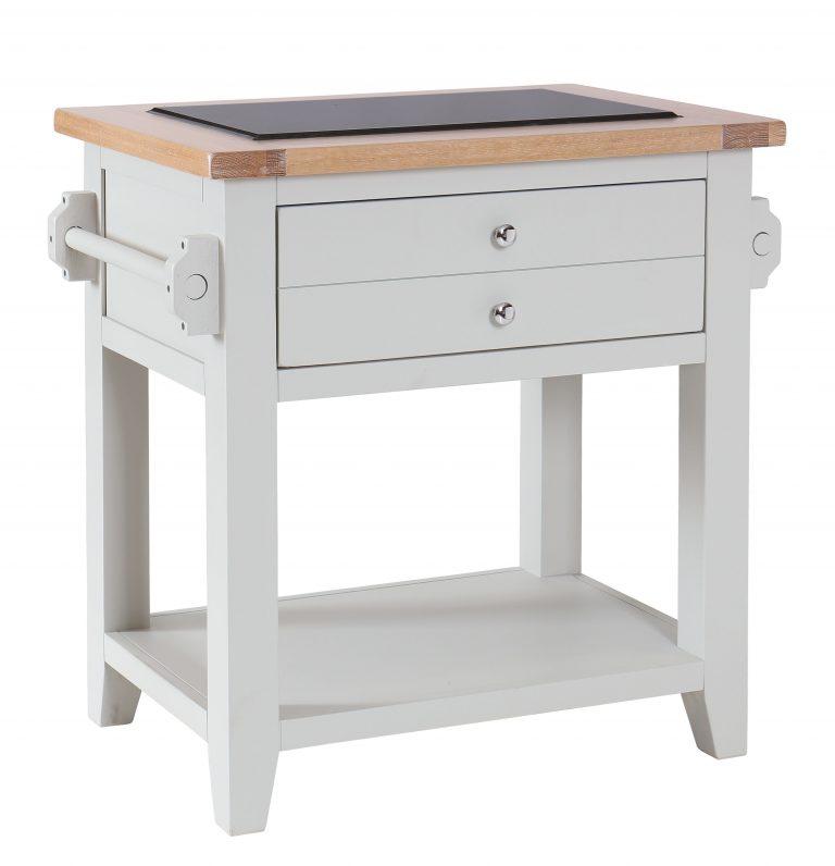 Besp-Oak Vancouver Chalked Oak & Light Grey Small Granite Top Kitchen Island Unit | Fully Assembled