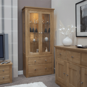 Homestyle Torino Solid Oak Glass Display Unit 2 Drawers 2 Doors | Fully Assembled