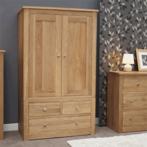 Homestyle Torino Solid Oak Double Wardrobe with 3 Drawers