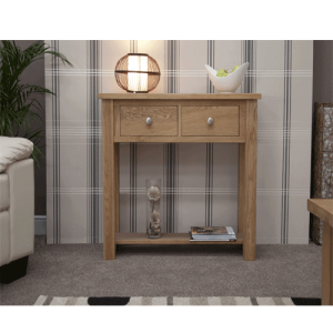 Homestyle Torino Solid Oak 2 Drawer 1 Shelf Hall/Console Table