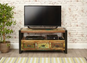 Baumhaus Urban Chic Television Cabinet with 3 Drawers | Fully Assembled