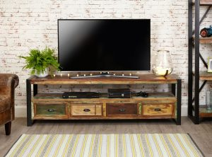 Baumhaus Urban Chic Open Widescreen Television Cabinet with 4 Drawers| Fully Assembled