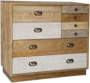 Classic Loft Reclaimed Pine 6 Drawer Chest with Plinth