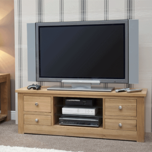 Homestyle Torino Solid Oak Large Plasma Unit with 4 Drawers | Fully Assembled