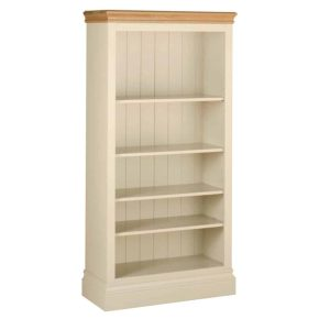 Lundy Painted Ivory With Oak Top  5′ Bookcase | Fully Assembled