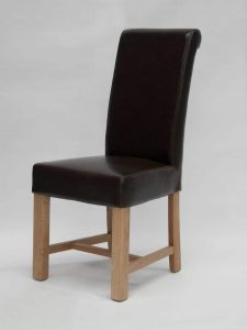 Louisa Chunky Scroll Brown Dining Chair (Pair)