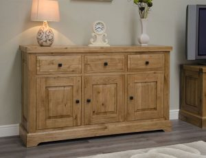 Homestyle Deluxe Solid Oak 3 Drawer & 3 Door Large Sideboard | Fully Assembled