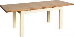 Lundy Painted Ivory With Oak Top  4'5″ Rectangle Extending Dining Table