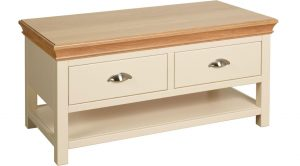 Lundy Painted Ivory With Oak Top  Coffee Table with Drawers | Fully Assembled