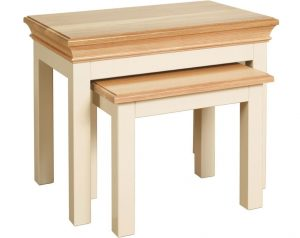 Lundy Painted Ivory With Oak Top  Nest of Tables | Fully Assembled