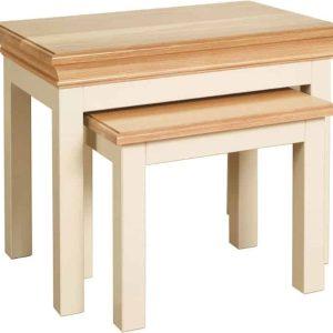 Besp-Oak Vancouver Chalked Oak & Light Grey Nest of 3 Tables   Fully Assembled