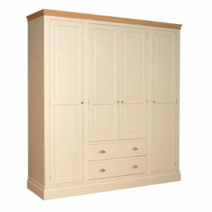 Lundy Painted Ivory With Oak Top 4 Door Quad Wardrobe with Drawers