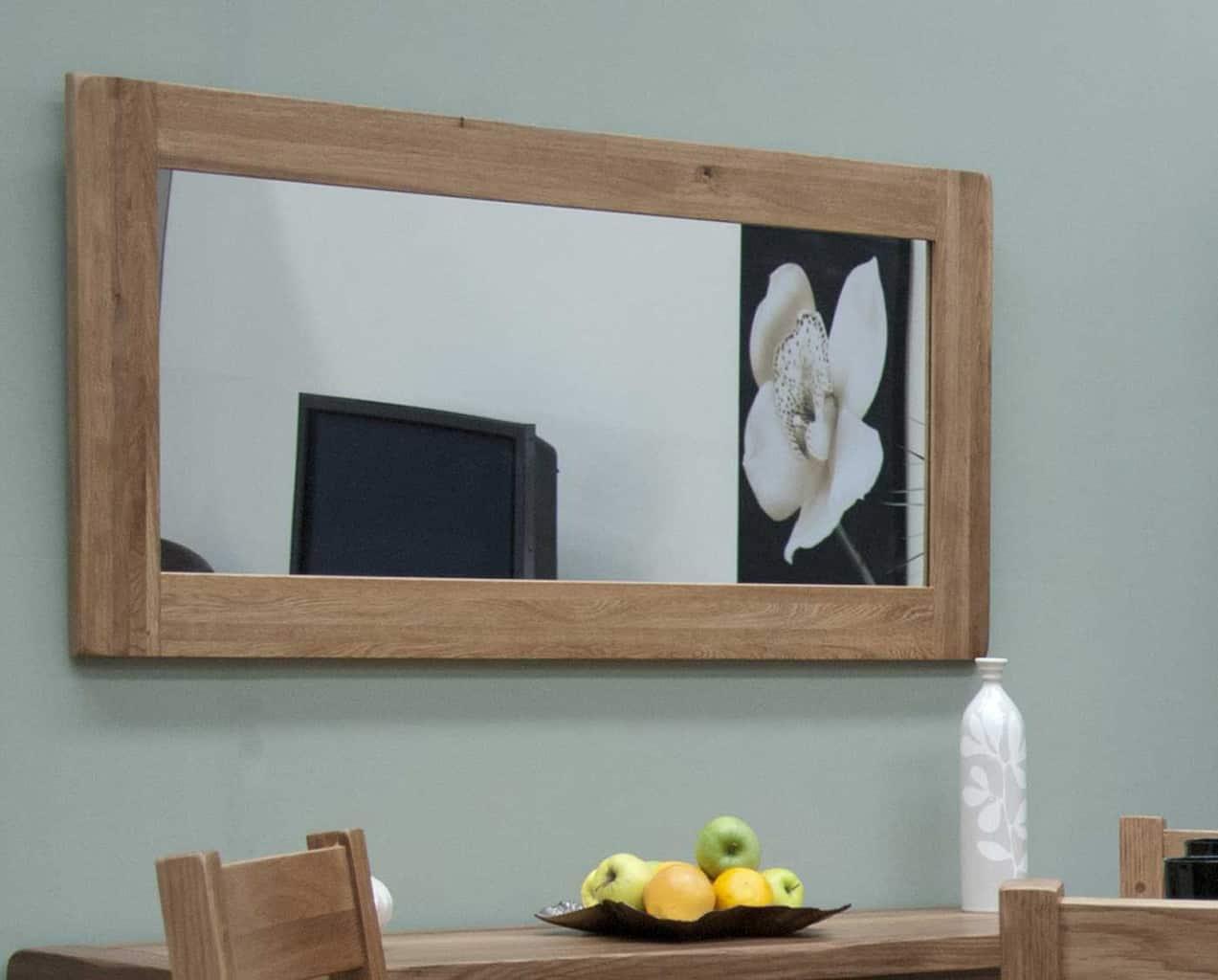 Original Rustic Solid Oak Large Mirror